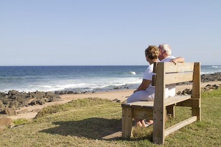 Couple sitting by the beach