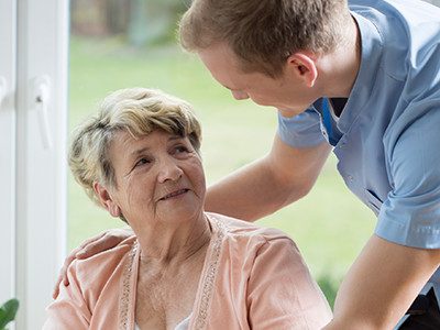 Woman Interacting with Her Caregiver